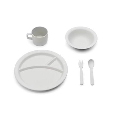 5pc Bamboo Fiber Kids Dinnerware Set Gray - Red Rover