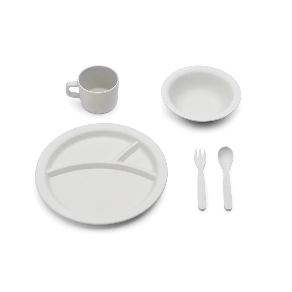 Image of 5pc Bamboo Fiber Kids Dinnerware Set Gray - Red Rover
