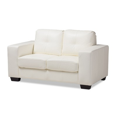 Adalynn Modern and Contemporary Faux Leather Upholstered Loveseat White - Baxton Studio