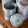 3pc Decorative Galvanized Metal Canister Set Silver - Olivia & May - image 4 of 4