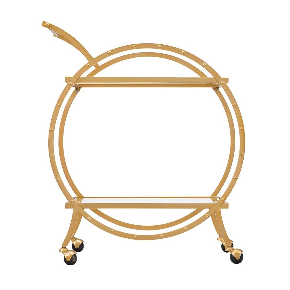 Eyrie Art Deco Round Bar Cart Gold - Aiden Lane