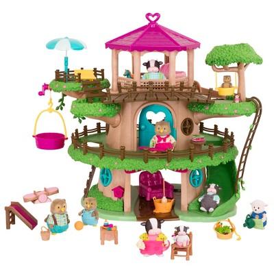 Li'l Woodzeez Toy Treehouse Set with Accessories 129pc - Family Treehouse Playset
