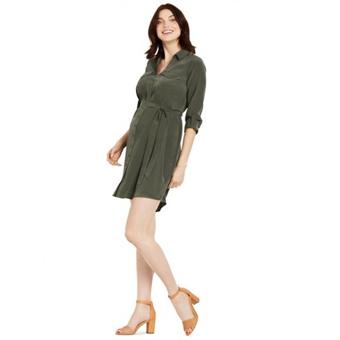 Motherhood Maternity | Tie Front Button Down Maternity Dress - image 1 of 4