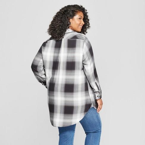 88165409d5ddf Women s Plus Size Plaid Long Sleeve Button-Down Tunic - Ava   Viv™ Black  White   Target