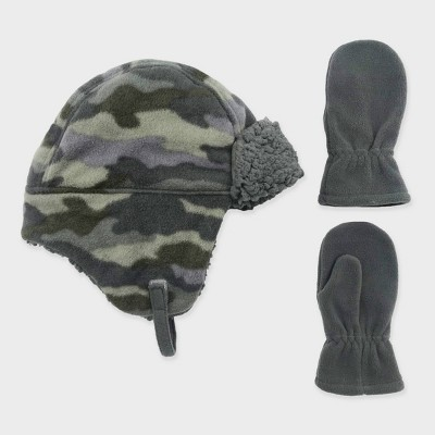 Toddler Boys' Camo Trapper and Fleece Mittens Set - Cat & Jack™ 12-24M