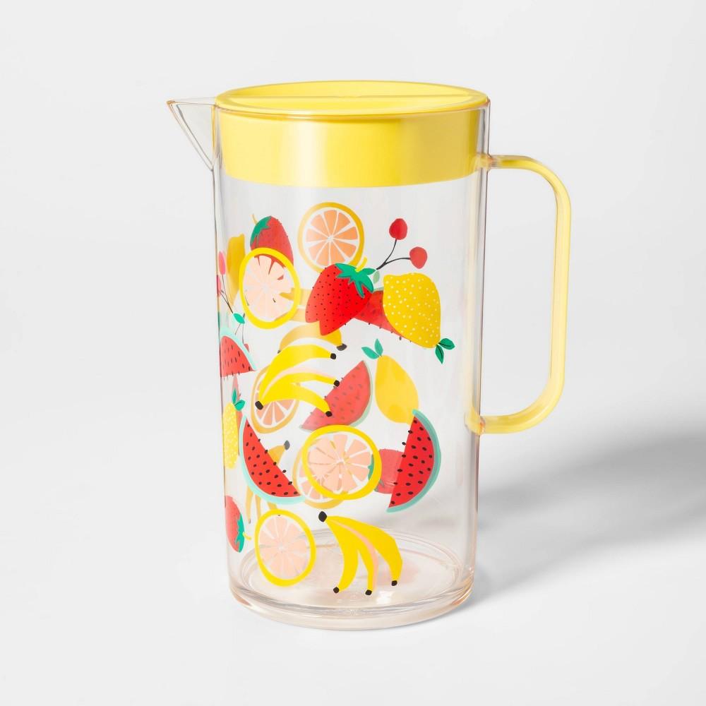 Image of 2.4L Plastic Fruit Salad Print Drink Pitcher - Sun Squad , Yellow