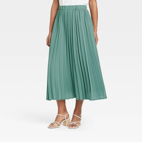Women's Pleated Maxi Skirt - A New Day™ Teal - image 1 of 3
