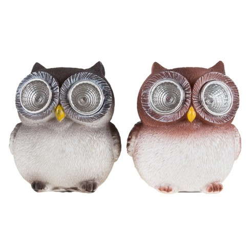 "Owl Solar LED Garden Statue Set of 2(3.5""x3""x3.75"") - Pure Garden - image 1 of 5"