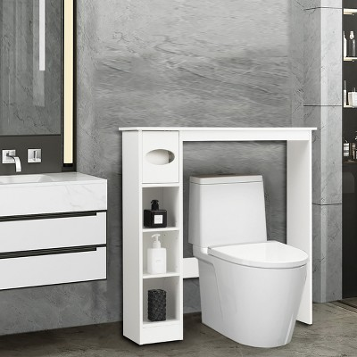 Costway Wooden Over the Toilet Storage Cabinet Bathroom Space Saver w/Paper Holder White