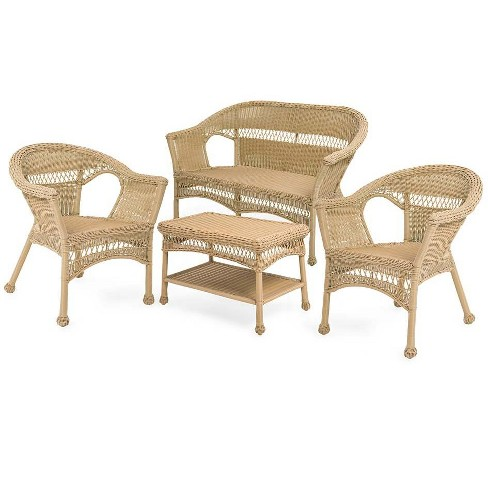 Easy Care Resin Wicker Love Seat Chairs And Coffee Table Set Natural Plow Hearth