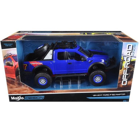 2017 Ford F 150 Raptor Pickup Truck Blue Off Road Kings 1 24 Diecast Model Car By Maisto