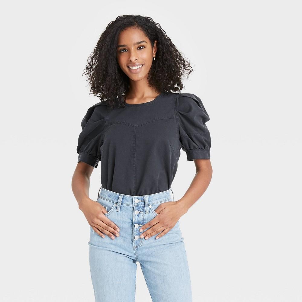 Women 39 S Puff Short Sleeve Blouse Universal Thread 8482 Dark Gray M
