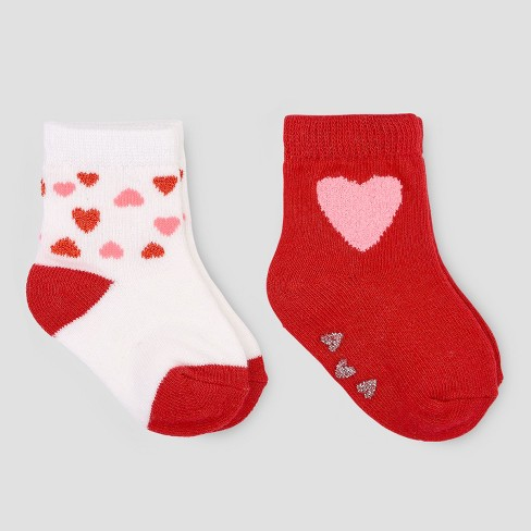 Baby Girls' 2pk Hearts Crew Socks - Just One You® made by carter's Red/White - image 1 of 1