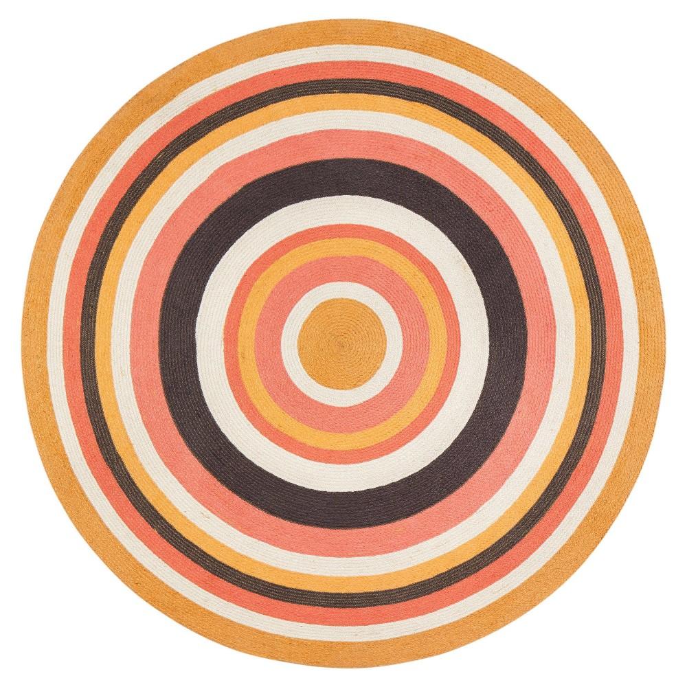 6 Round Concentric Jute Rug Yellow Orange Anji Mountain