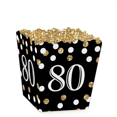 Big Dot of Happiness Adult 80th Birthday - Gold - Party Mini Favor Boxes - Birthday Party Treat Candy Boxes - Set of 12