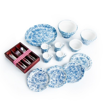 The Queen's Treasures 18 In Doll 25 Piece Silverware, Dishes, Serving Set