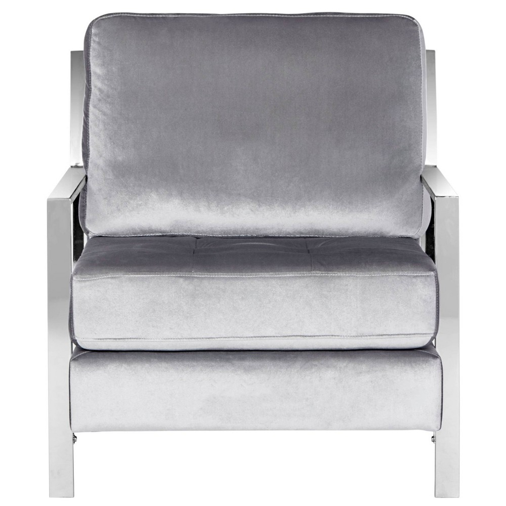 Walden Modern Tufted Arm Chair - Light Gray Velvet - Safavieh