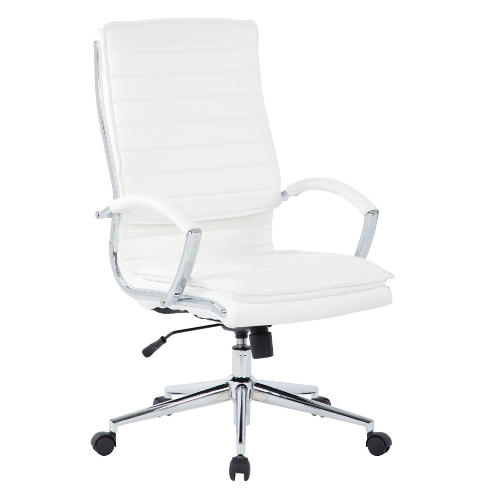 High Back Manager's Faux Leather Chair With Chrome Base White - Osp Home Furnishings