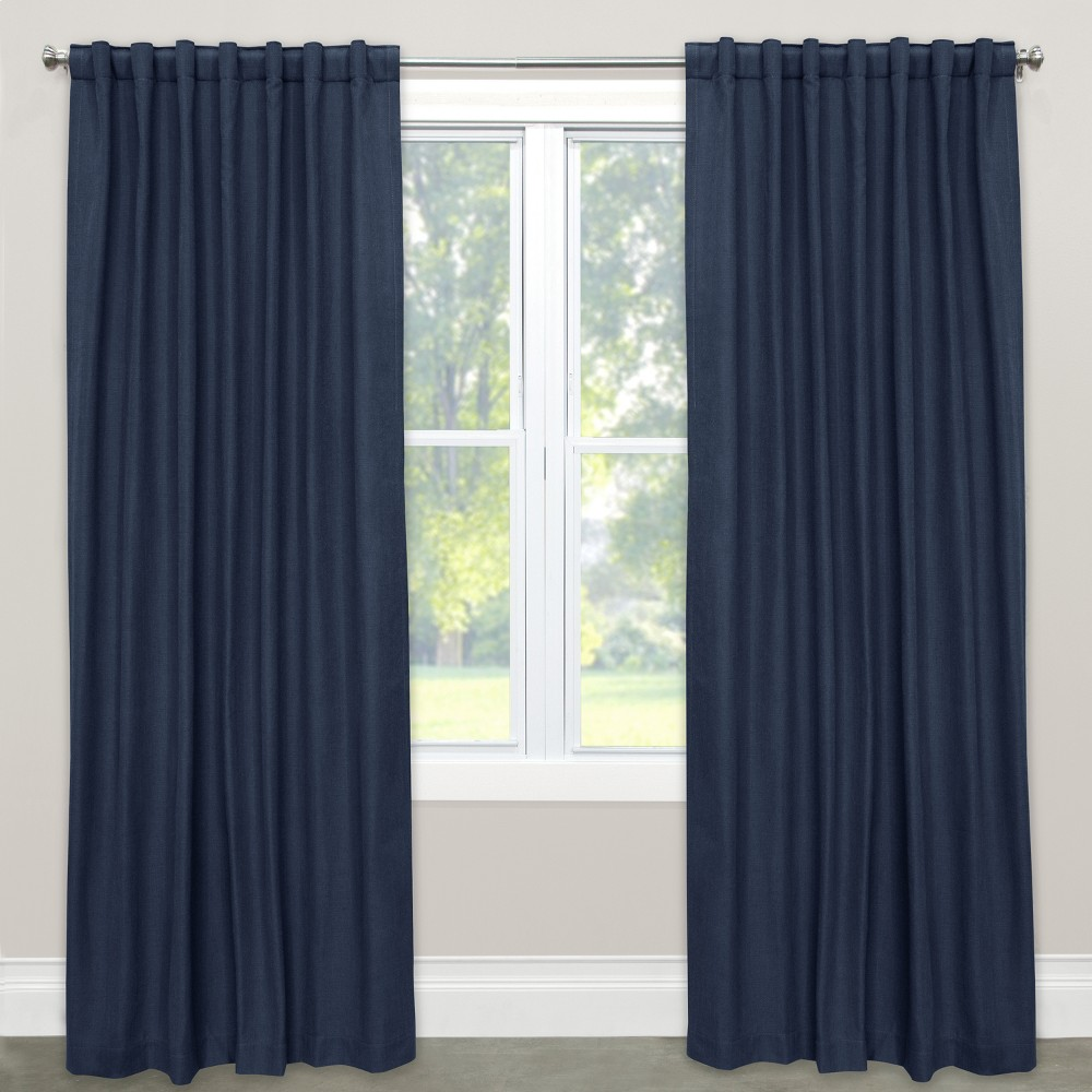 Blackout Curtain Linen Navy (Blue) 63L - Skyline Furniture