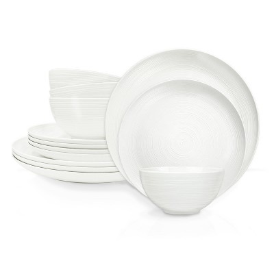 Zak Designs American Conventional Melamine 12 Piece Dinnerware Set Dinner Plates Salad Plates Individual Bowls Durable BPA Free