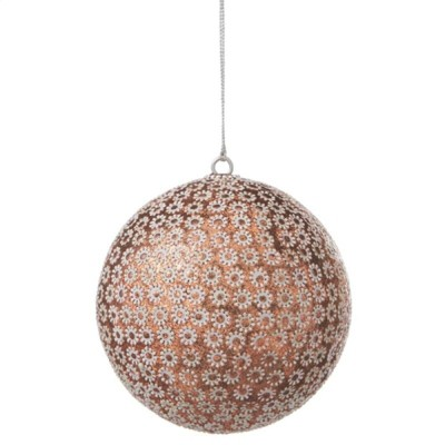 "Ganz 3.5"" Glittered Sunflowers Shatterproof Ball Christmas Ornament - Copper/White"