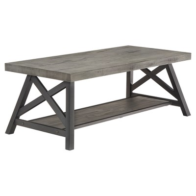 Lanshire Rustic Industrial Metal & Wood Cocktail Table - Gray - Inspire Q
