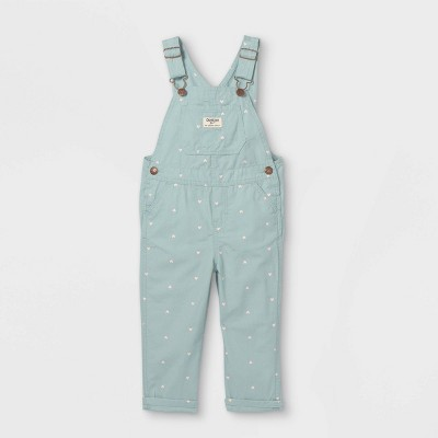 OshKosh B'gosh Toddler Girls' Heart Print Overalls - Sage Green