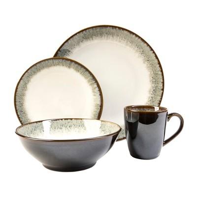 16pc Stoneware Novelle Dinnerware Set Gray/Brown - Sango