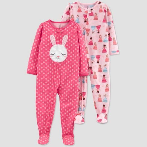 1ef89cf789 Toddler Girls  Pink Bunny Princess Footed Sleepers - Just One You ...