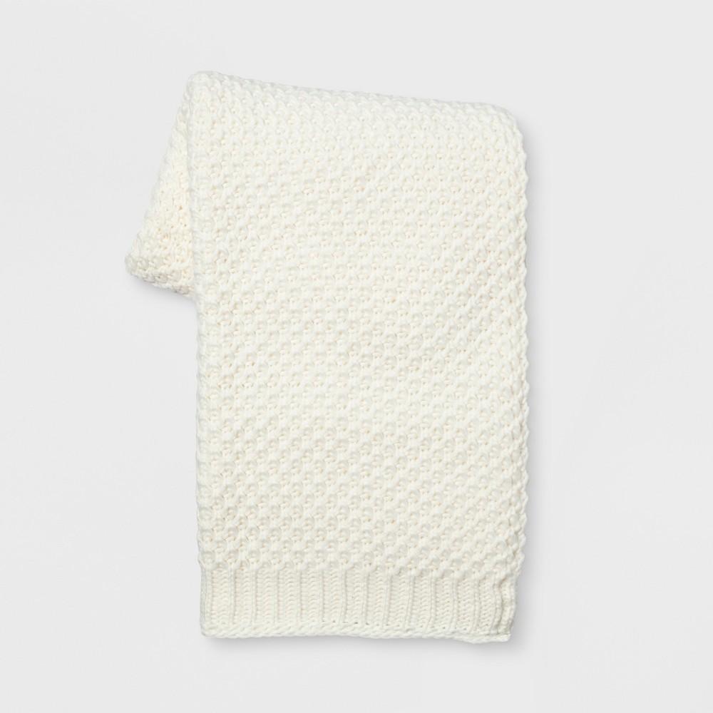 Knit Throw Blanket White - Threshold