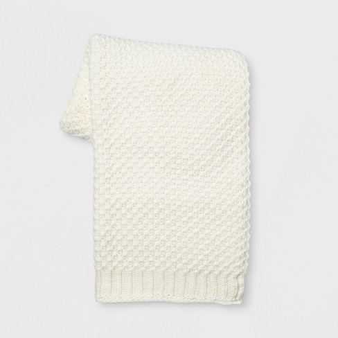 Knit Throw Blanket White - Threshold™ - image 1 of 1