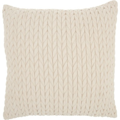 "Nourison Life Styles Quilted Chevron Ivory Throw Pillow - 18"" x 18"""