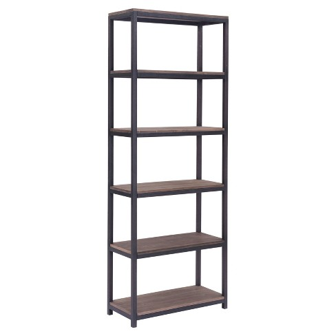 "Industrial 6-Shelf 86"" Tall Bookcase - Distressed Natural - ZM Home - image 1 of 3"