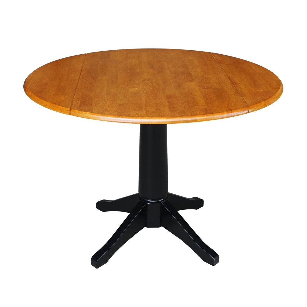 "Image of ""30.3"""" Raysen Round Dual Drop Leaf Pedestal Table Black/Cherry - International Concepts, Size: 30.3""""H"""