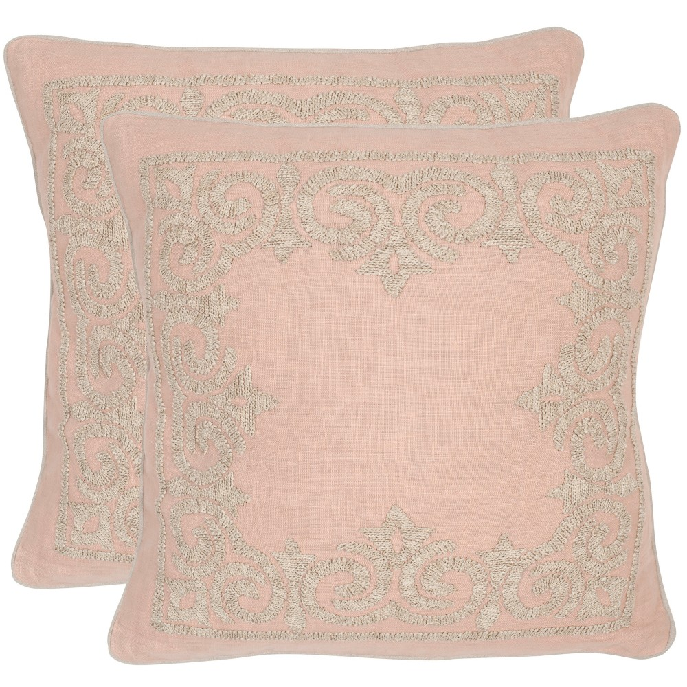 Image of Set of 2 Florentine Petal Square Throw Pillow Pink - Safavieh