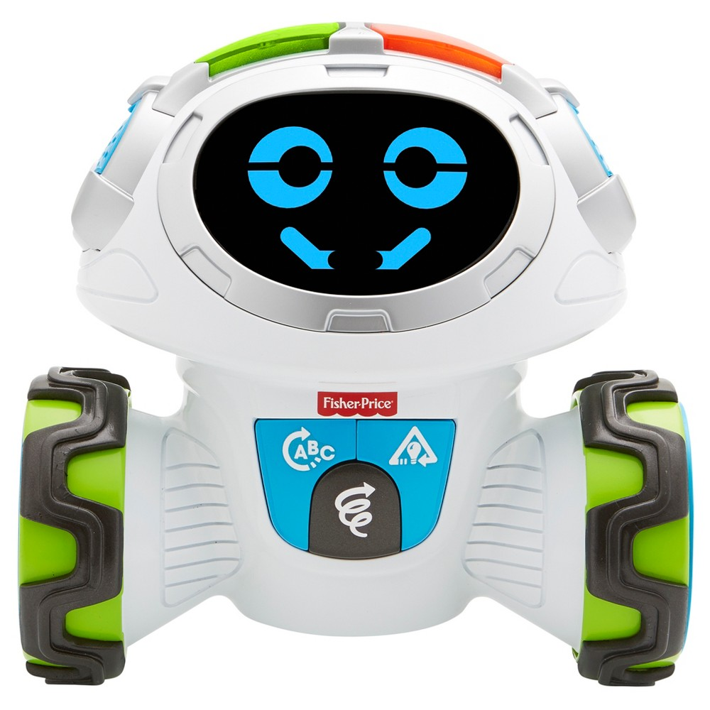 Fisher-Price Think and Learn Teach 'n Tag Movie Movie says,  Let's Play!  This cool little robot is ready to roll, and get kids moving and learning along with him! With 360 degrees of mobility, Think and Learn Teach 'n Tag Movie encourages preschoolers to get their minds and bodies moving while teaching them how to follow directions and think critically about the world around them! With three exciting game modes, Movie keeps kids thinking (and moving!), whether he's asking them questions to engage their critical thinking skills, prompting them to follow directions to a fun game, or getting silly on the dance floor and showing off his smooth moves. Kids will have a blast showing off their awesome listening skills and rocking' moves with this interactive learning robot! Where development comes into play Following Directions: With active games like  Red Light, Green Light  or  Movie Says , preschoolers practice their listening skills and following directions. Critical Thinking: When Movie asks kids to think about an object and asks what shape that object is, he's encouraging them to use those all-important critical thinking skills! Movement and Motions: Whether it's an all-out dance party or pretending to be different animals, Movie gets your preschooler up and moving! Gender: Unisex.