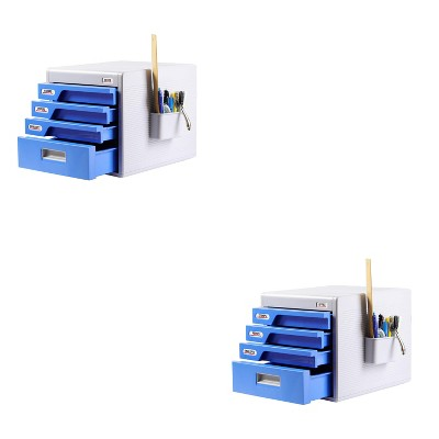 SereneLife 4 Drawer Home Office File Cabinet Desk Storage Organizer with Combination Lock for Papers, Tools, and Craft Supplies (2 Pack)