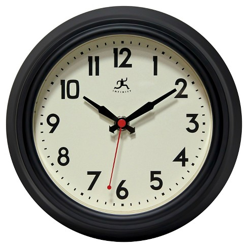 The Cuccina Round Wall Clock Black - Infinity Instruments® - image 1 of 3