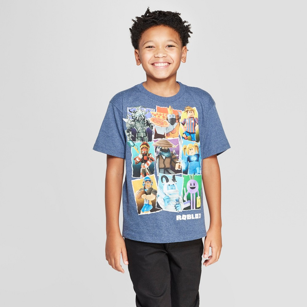 Image of petiteBoys' Roblox Characters Short Sleeve T-Shirt - Navy Heather M, Boy's, Size: Medium, Blue