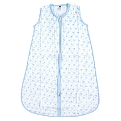 Hudson Baby Infant Boy Muslin Cotton Sleeveless Wearable Sleeping Bag, Sack, Blanket, Blue Sheep