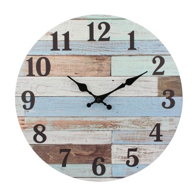 "14"" Coastal Worn Wood Wall Clock Blue/White - Stonebriar Collection"