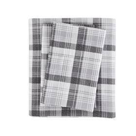 King Patterned Flannel Sheet Set Gray Plaid
