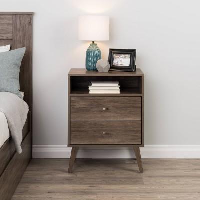 Mid Century Modern 2 Drawer Tall Nightstand with Shelf - Prepac