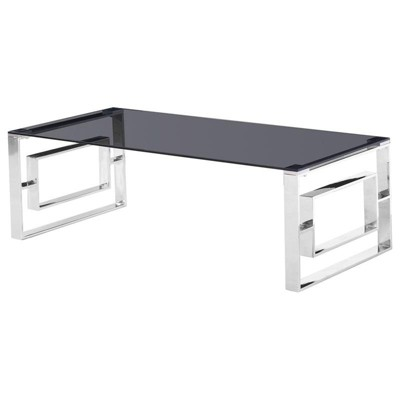 Mallory Stainless Steel and Smoked Glass Coffee Table in Silver - Best Master Furniture
