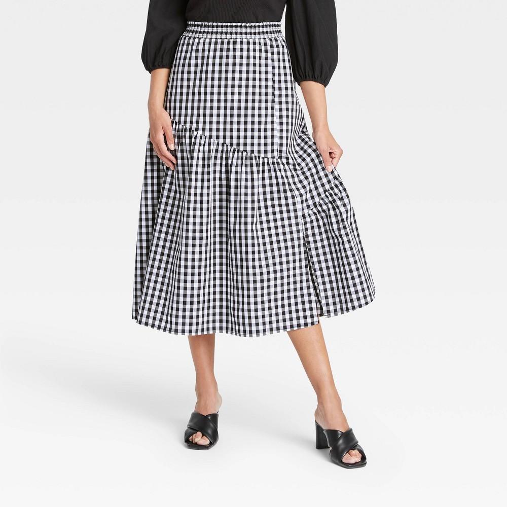 Cottagecore Clothing, Soft Aesthetic Womens Ruffle Midi Skirt - Who What Wear BlackWhite Gingham XXL $34.99 AT vintagedancer.com