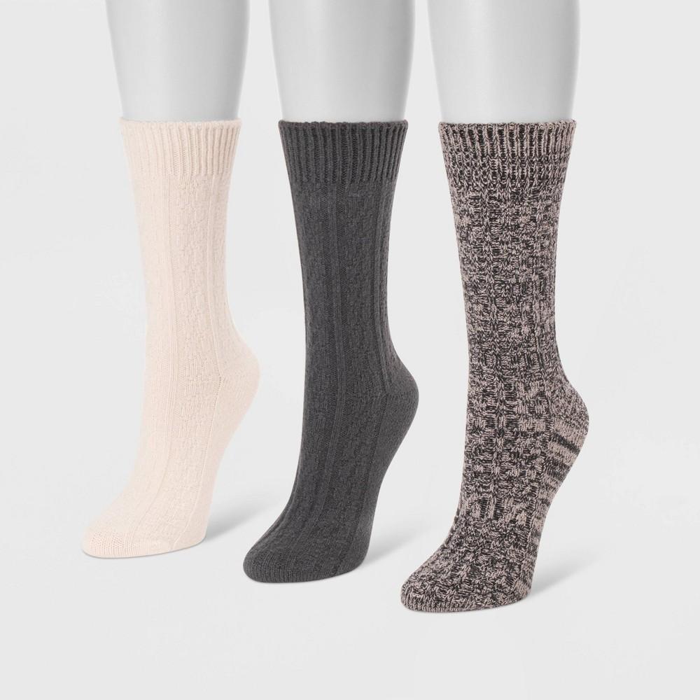 Image of MUK LUKS Women's 3pk Boot Socks - Midnight Blue One Size, Women's, Black Blue