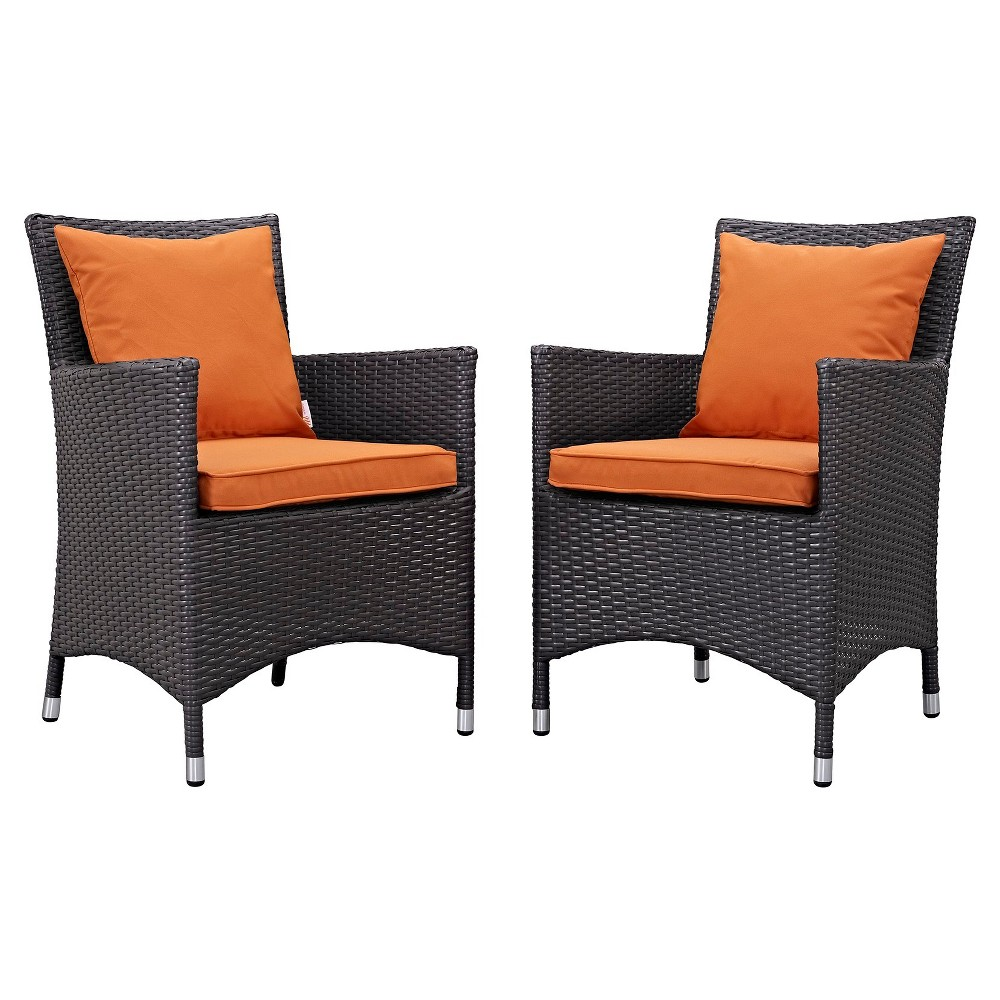 Convene 2 Pc Outdoor Patio Dining Set in Espresso Orange - Modway, Orange Dream