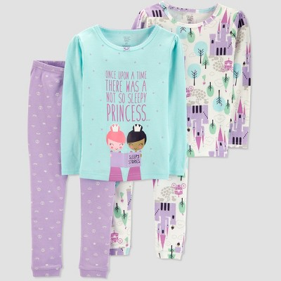Baby Girls' 4pc Princess Pajama Set - Just One You® made by carter's Violet 9M