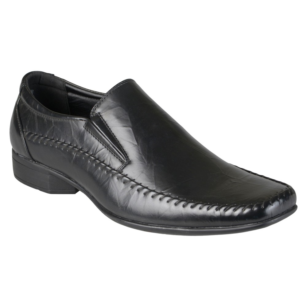 Men's Vance Co. Noah Square Toe Faux Leather Slip-on Loafers - Black 8.5