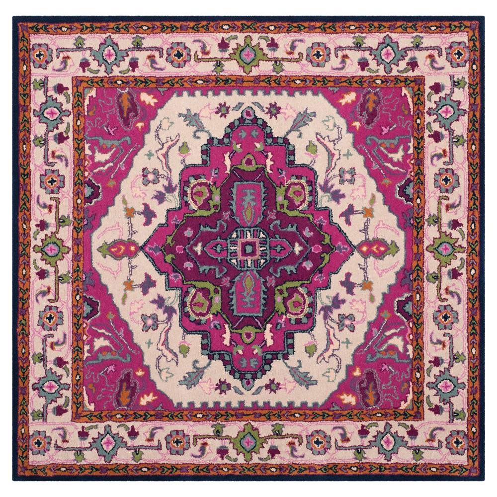 Ivory/Pink Medallion Tufted Square Area Rug 5'x5' - Safavieh